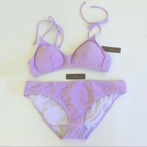 J. Crew Seersucker Stripe French Bikini & Bottom L